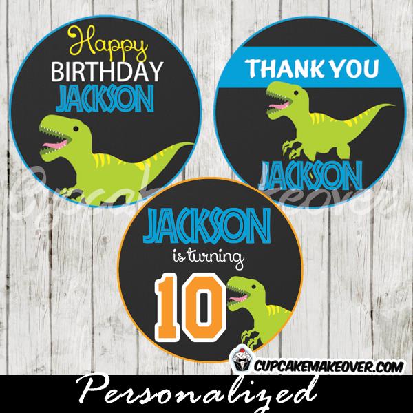 t rex dinosaur cupcake toppers printable gift tags custom