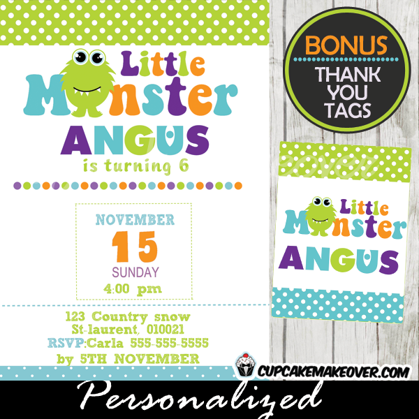 cute little monster bash birthday party invitations printable