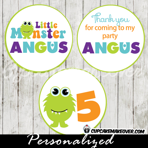 printable cute lil monster personalized favor tags cake toppers