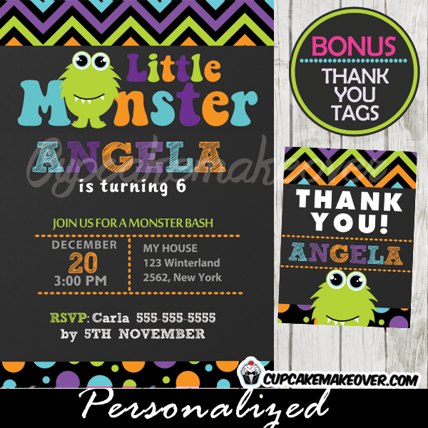 cute lil monster birthday party invitations for girls printable