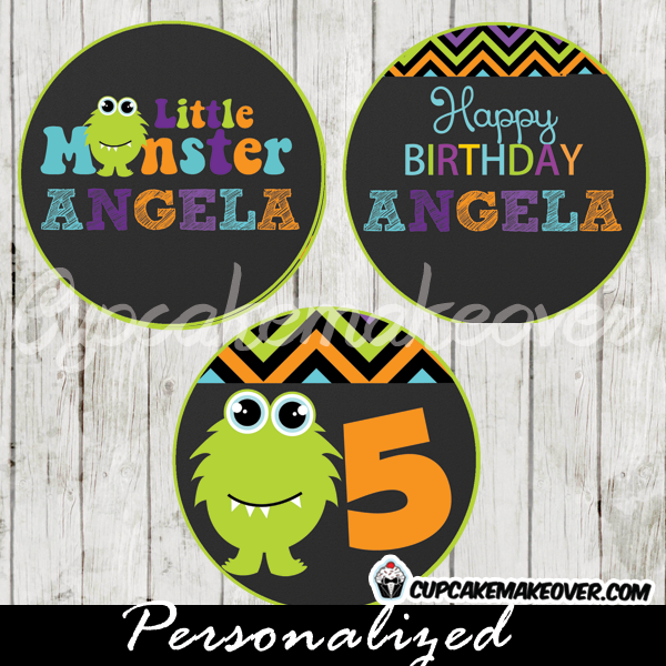 printable green lil monster personalized favor tags cake toppers