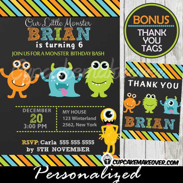 cute lil monsters birthday bash invitations printable