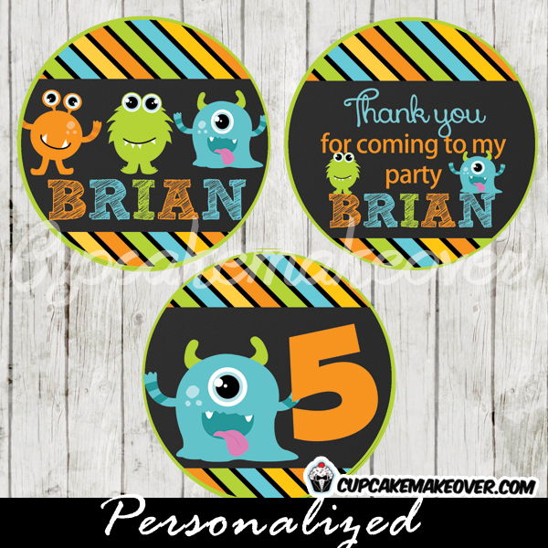 printable lil monsters bash party personalized favor tags cake toppers
