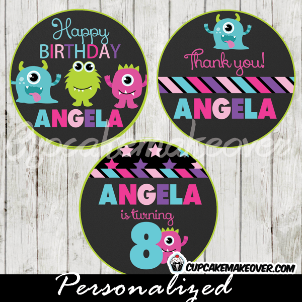printable lil monsters bash personalized favor tags cake toppers