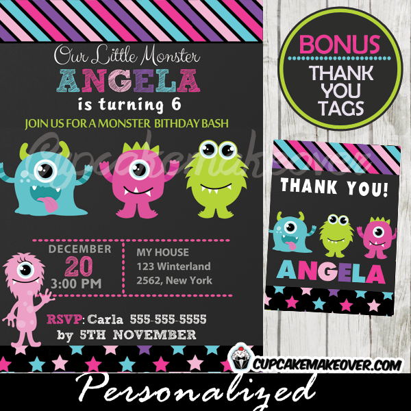 cute little monsters bash birthday party invitations thank you cards