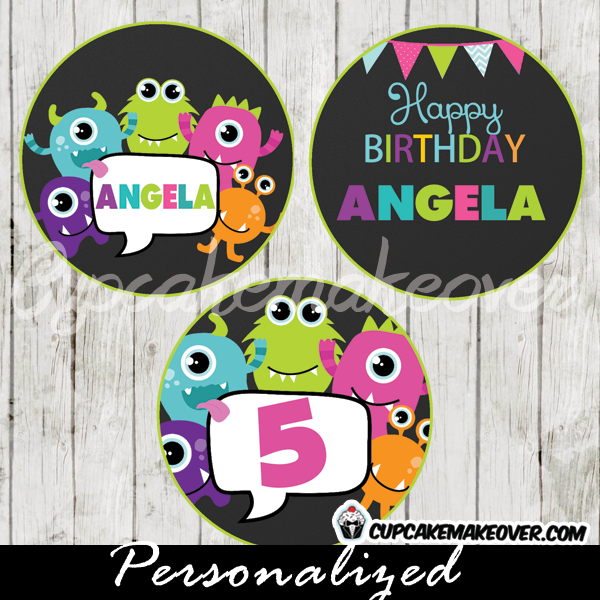 personalized little monsters favor tags cake toppers