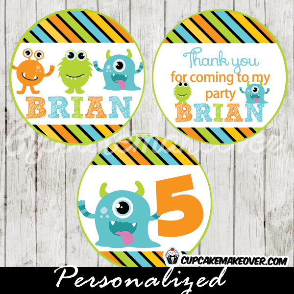 personalized lil monster party favor tags cupcake toppers