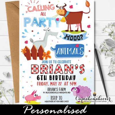 farm animals party invitations printable barnyard birthday