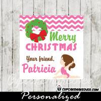 pink gymnastics girl Christmas editable gift tags printable