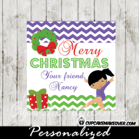 purple gymnastics girl Christmas editable gift tags printable