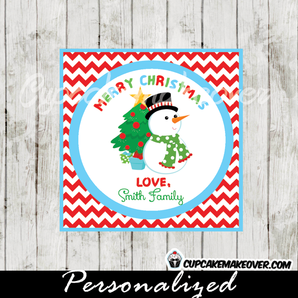 merry Christmas labels red chevron snowman personalized
