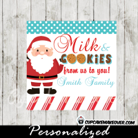 santa milk and cookies christmas gift tags printable