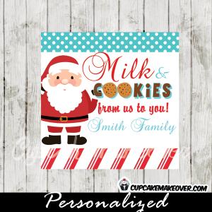santa milk and cookies christmas gift tags printable