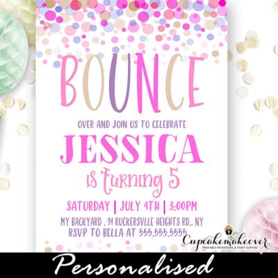 bounce birthday invitations girls pink purple