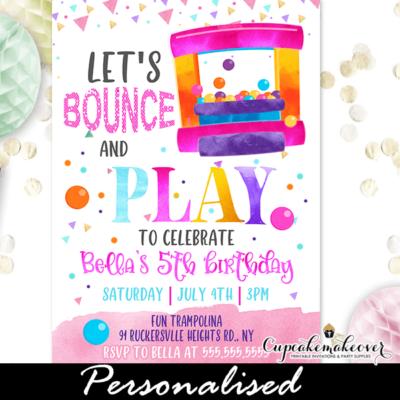 bounce house birthday invitation girl