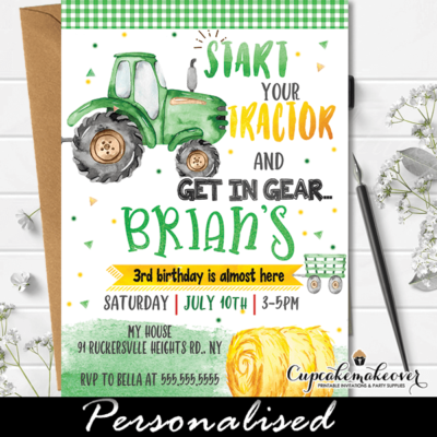 little farmer green tractor birthday invitation