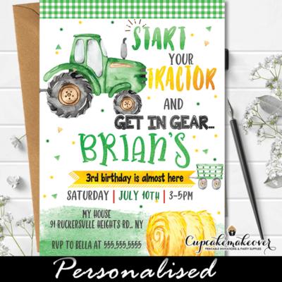 little farmer green tractor birthday invitation