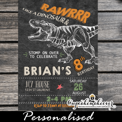 jurassic t-rex dinosaur birthday invitations printable cool party invites