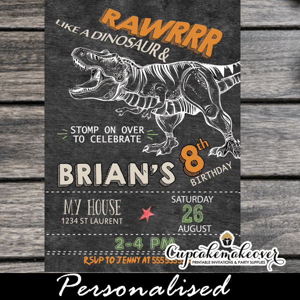 T rex dinosaur birthday invitations chalkboard personalized jurassic t rex dinosaur birthday invitations printable cool party invites filmwisefo