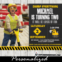construction photo birthday party invitations