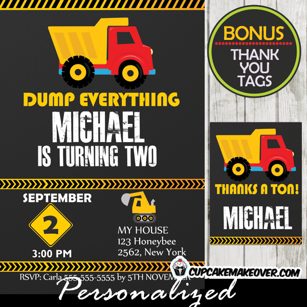 Dump Truck Construction Boy Birthday Party Invitations Printable