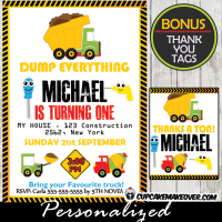 construction tools and trucks birthday party invitations printable