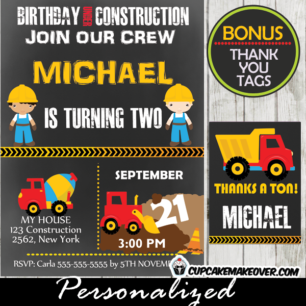 printable birthday under construction party invitations
