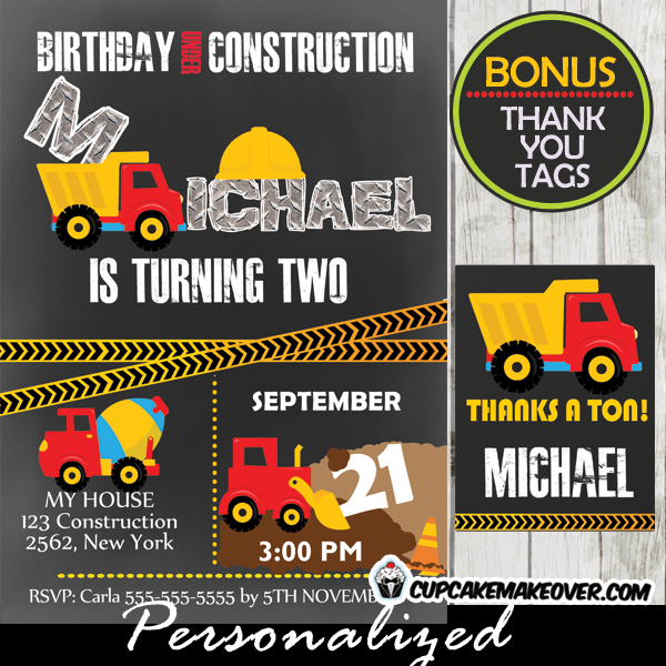 printable under construction birthday party invitations diy