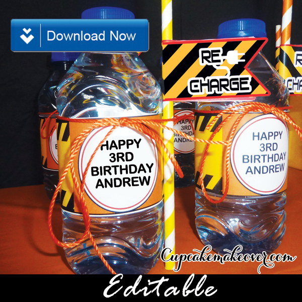 editable construction bottle labels straw flags orange yellow black