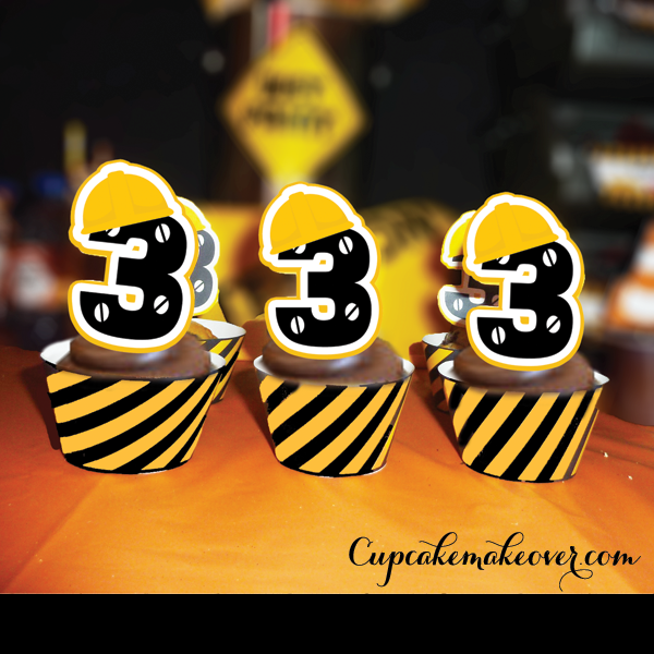 Construction crew yellow hard hats cupcake toppers