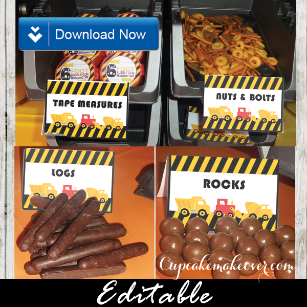 construction buffet table food ideas labels printable