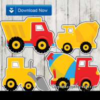 kids construction vehicle cutouts printable