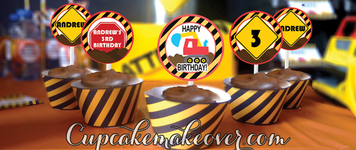 personalized construction cupcake toppers wrappers