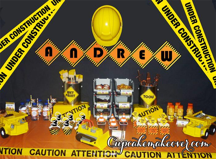 Construction Birthday party buffet table ideas