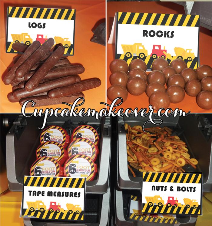 Construction Food labels printables