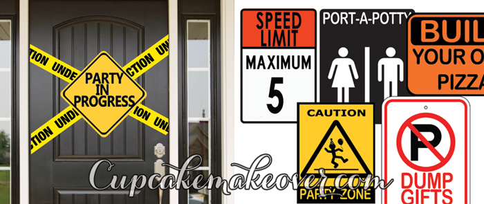Construction birthday printables party signs