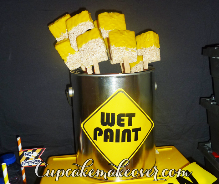 Construction party sweets wet paint brush