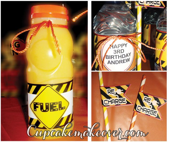 personalized construction party bottle labels