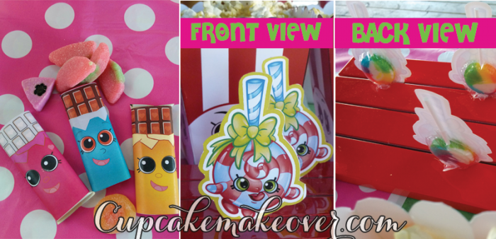 shopkins party favors lollipops candy bar wrappers