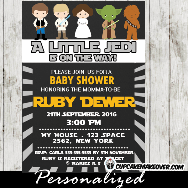 E Wars Little Jedi Baby Shower Invitation Personalized D3