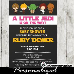printable star wars baby shower invitations girls