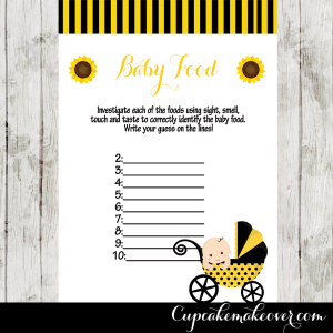baby bee stroller baby shower games printable