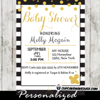printable black white stripes gold confetti bumble bee baby shower invitations