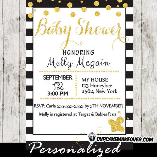 Bumble bee baby shower invitations archives cupcakemakeover printable black white stripes gold confetti bumble bee baby shower invitations filmwisefo