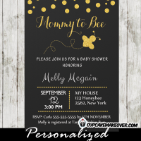 printable chalkboard chic mommy to bee baby shower invitation gold