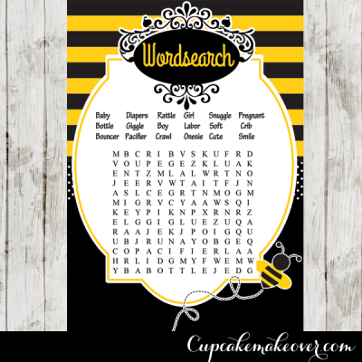 yellow black stripes bee themed baby shower games