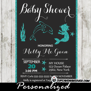 printable blue glitter mermaid and dolphin baby shower invitation