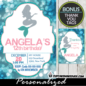 printable mermaid birthday invitations blue bokeh