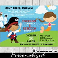 mix and match pirate mermaid birthday party invitations joint printable