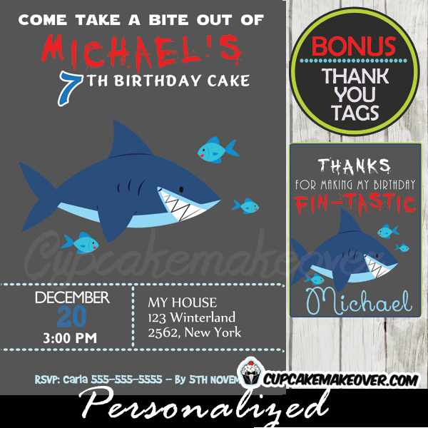 shark birthday party invitations printable